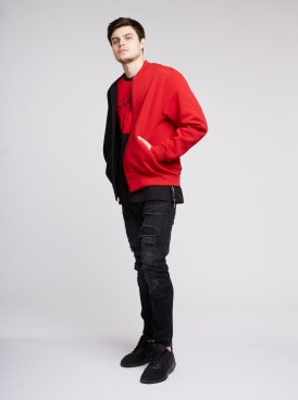 Men's sweatshirt-bomber BLACK & RED